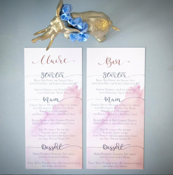 wedding stationery menus