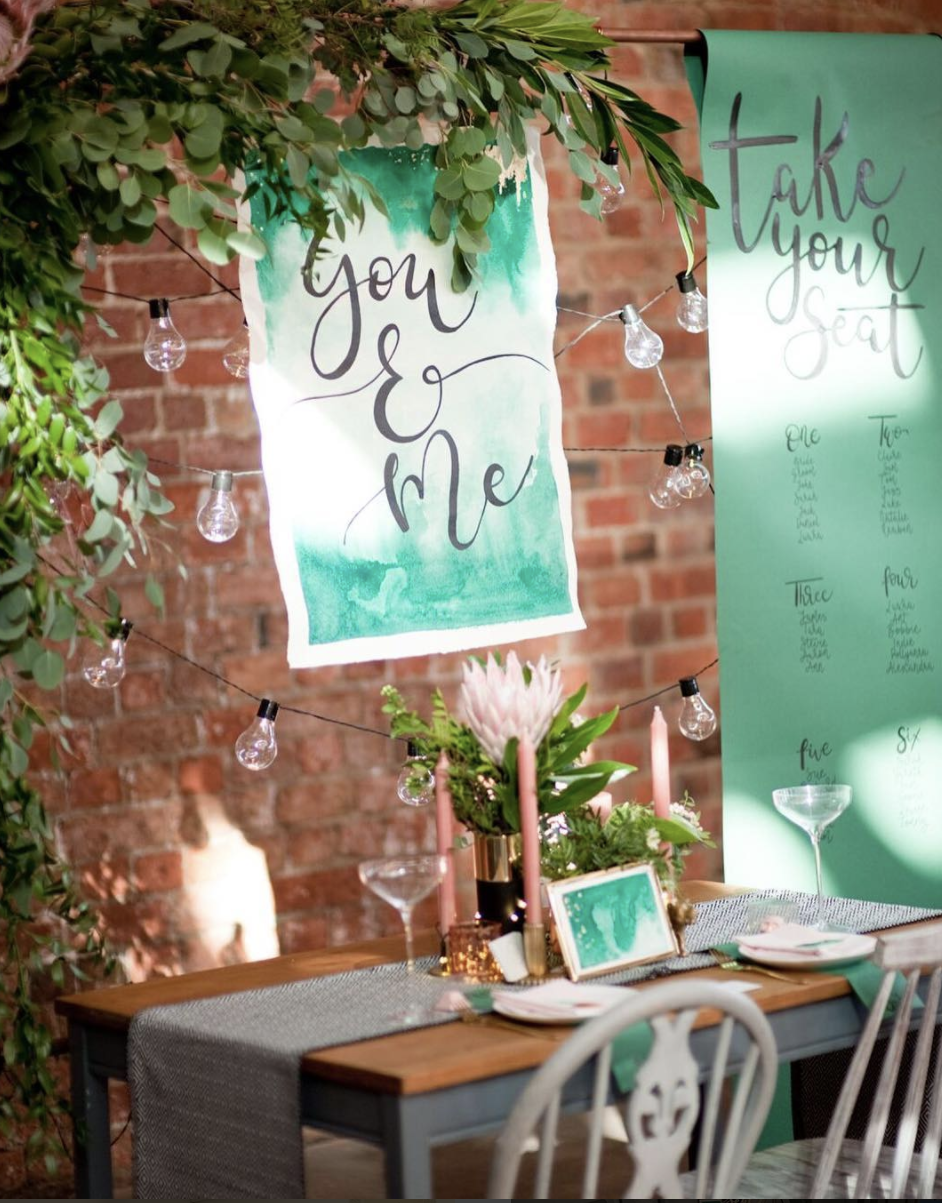 modern calligraphy wedding decore