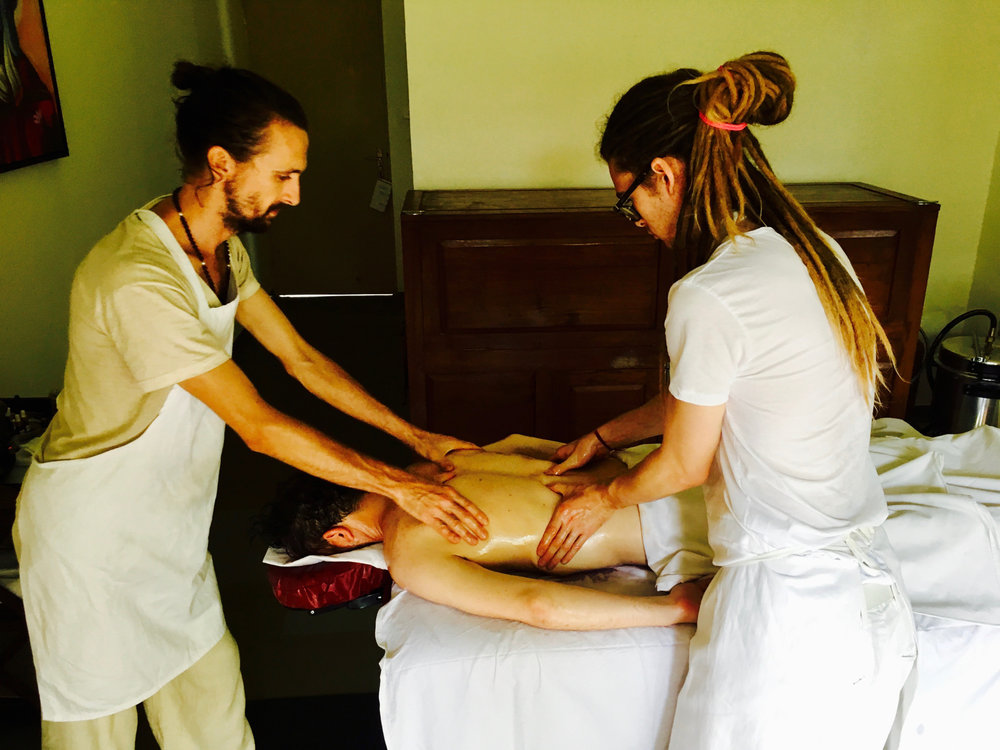 Learning Dr. Lad's sequence for Abhyanga - oleation massage
