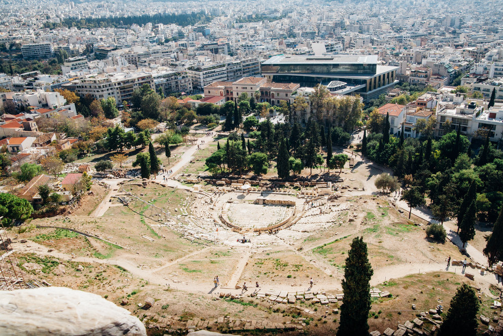 The theatre of Dionysus. God of wine and patron of drama. Supposidly the birthplace of Greek Tradgedy.