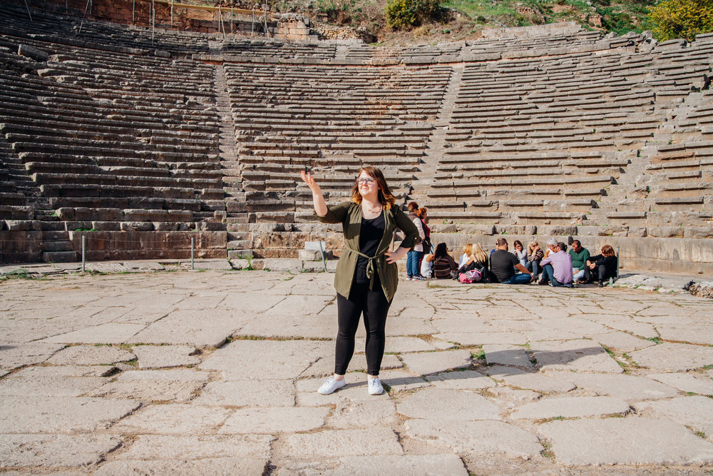 Amy's 'Acting' pose on stage at the ancient Theatre up on the mountain. Still used today for the odd event.