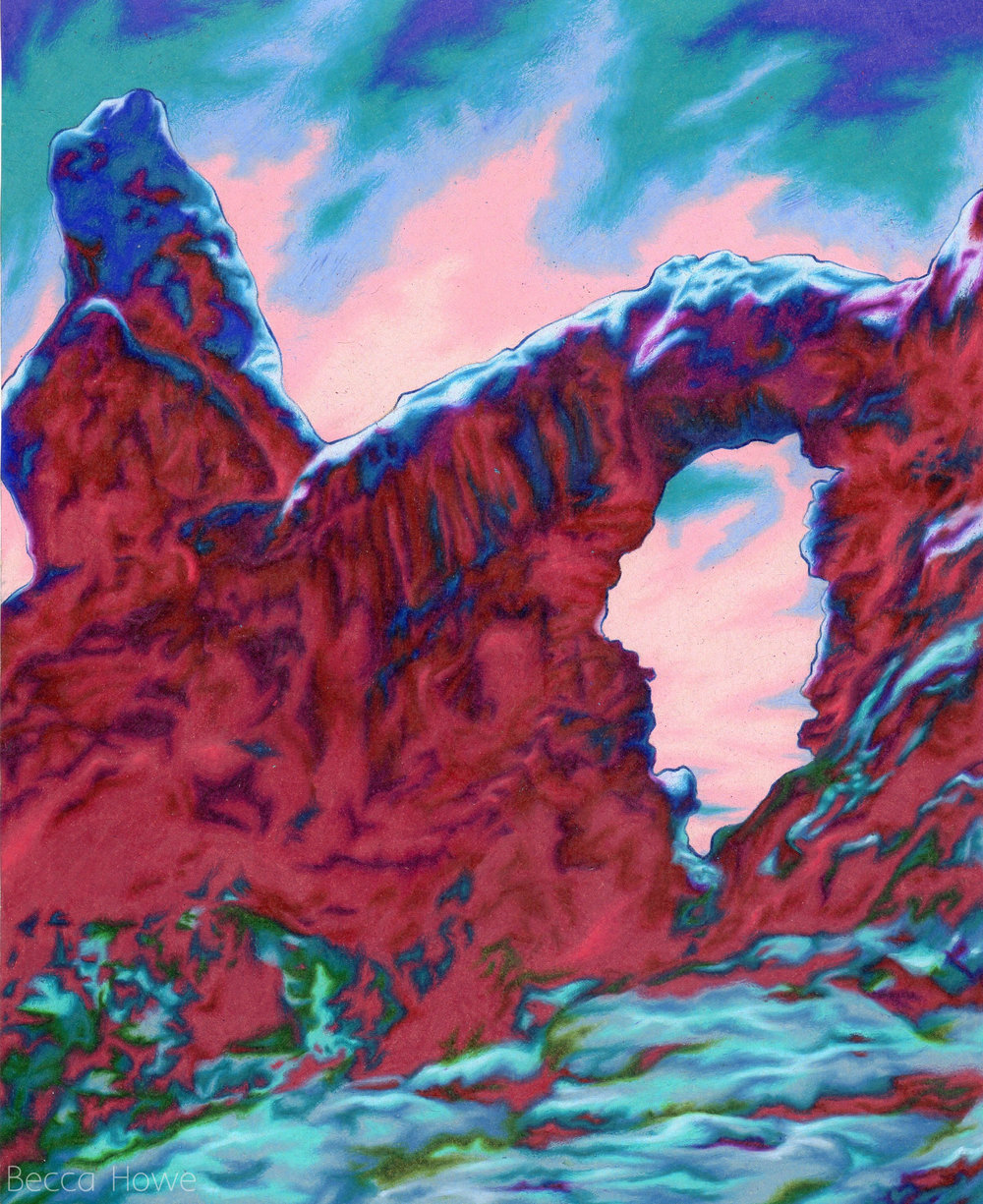 "Arches , Colored Pencil, 8"" x 10"", 2017"