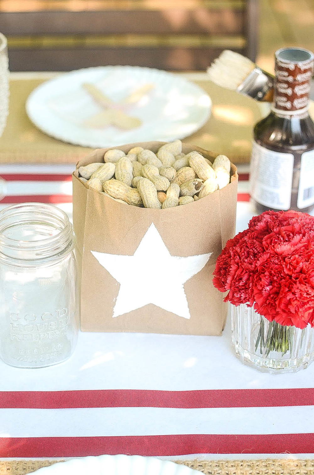 Brown paper lunch bags and white plaint is all that is needed to make these fun practical centerpieces!