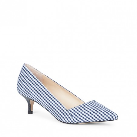 Desi Navy Gingham Pump