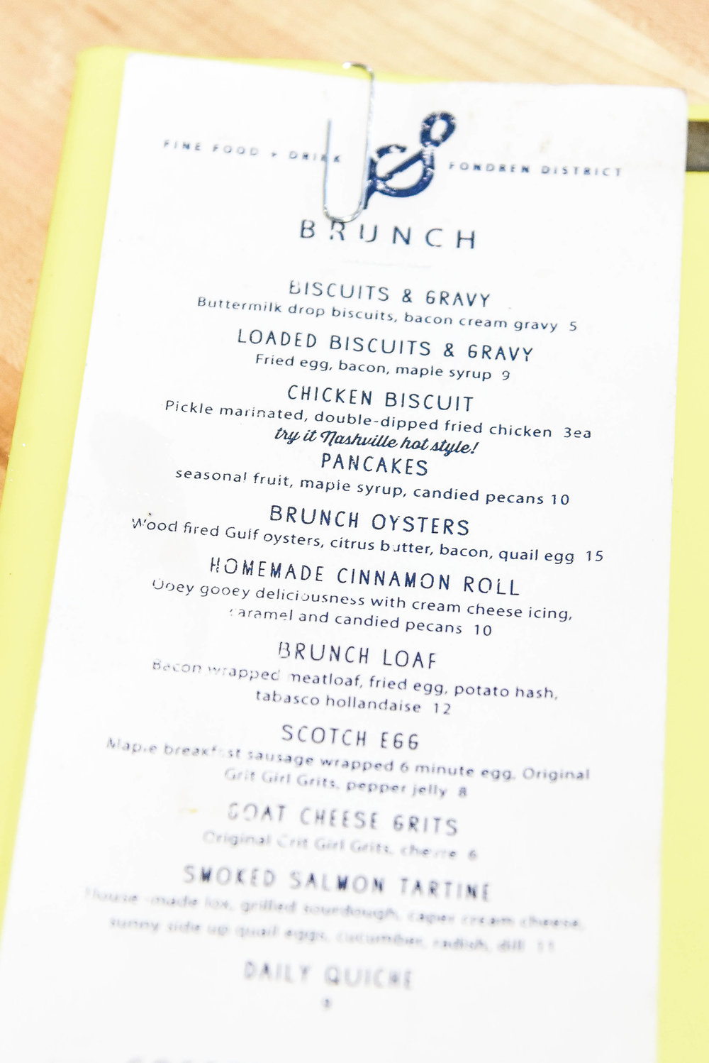 Saltine Restaurant, Brunch Menu, Jackson Mississippi