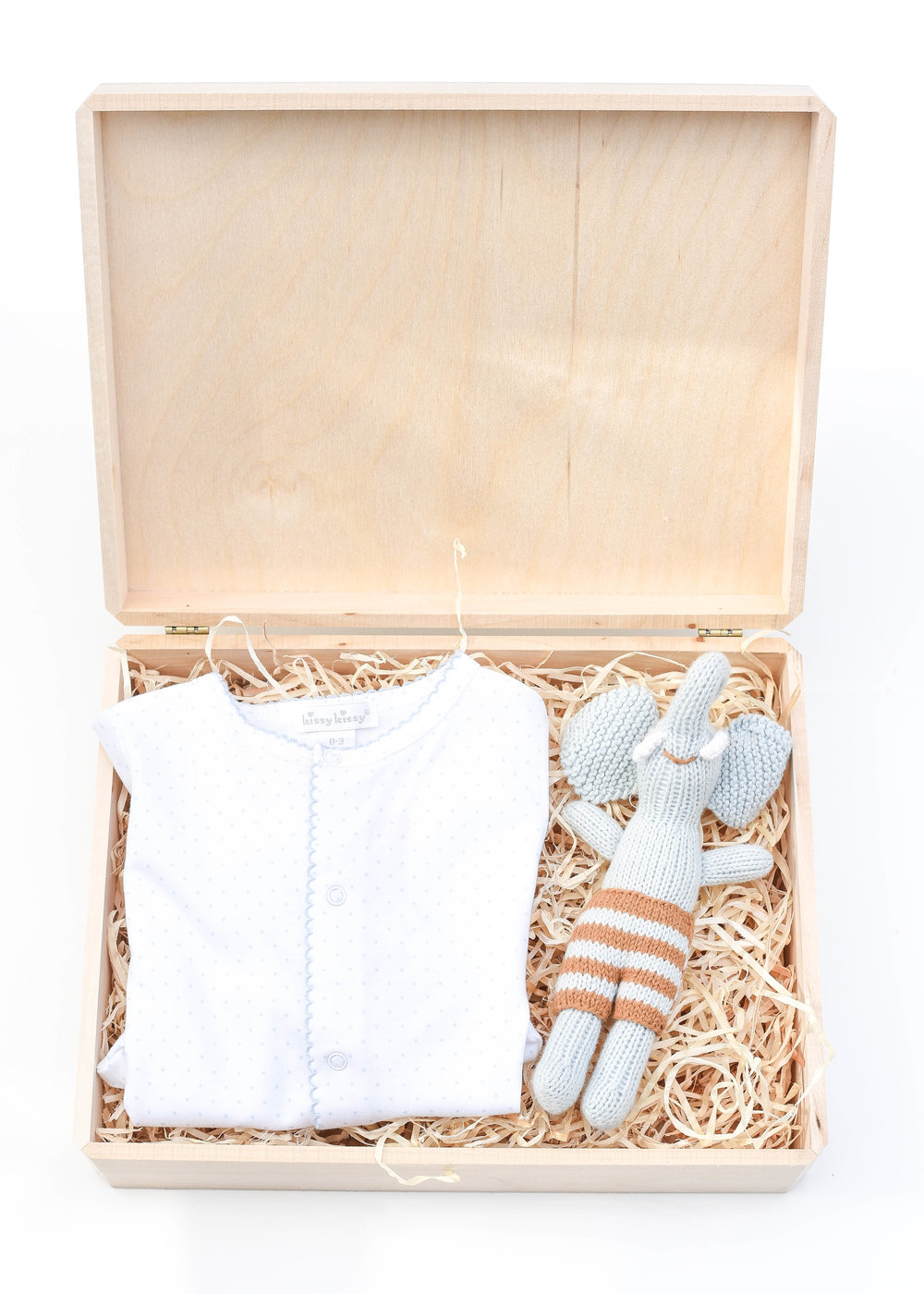 For Baby | Simple & Sweet - L:R | Kissy Kissy Pima Cotton Onsie, White with Blue Dots | Bla Bla Elephant Rattle