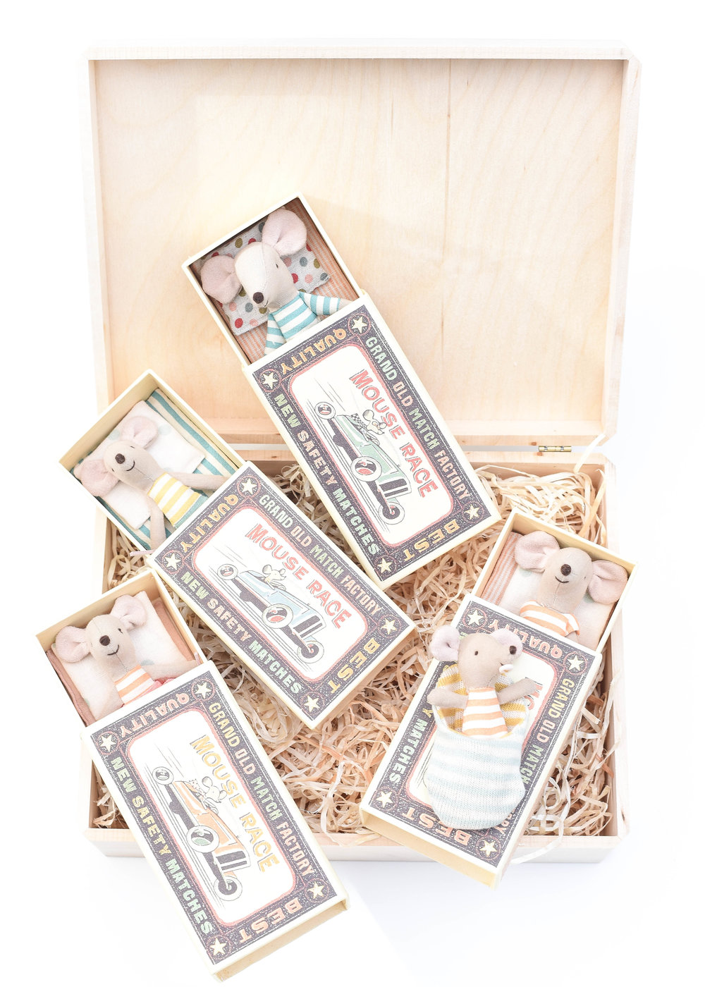 Mouse Family Gift Set - What's more fun than a family of mice? Perfect for every day play, on the go and in the home. These heirloom quality pieces will quickly become treasured friends! Sold individually, each come with their own matchbox bed and charming bedding. For purchase info, click links below.L:R | Little Sister Mouse | Little Brother Mouse | Big Brother Mouse | Big Sister Mouse | Baby Mouse |Our go to gift wrap this holiday, shown here:Unfinished Walnut Box (2 pack) | Aspen Wood Excelsior (BULK)Only needing to wrap one present?Individual Unfinished Walnut Box | Aspen Wood Excelsior (4 oz bag)