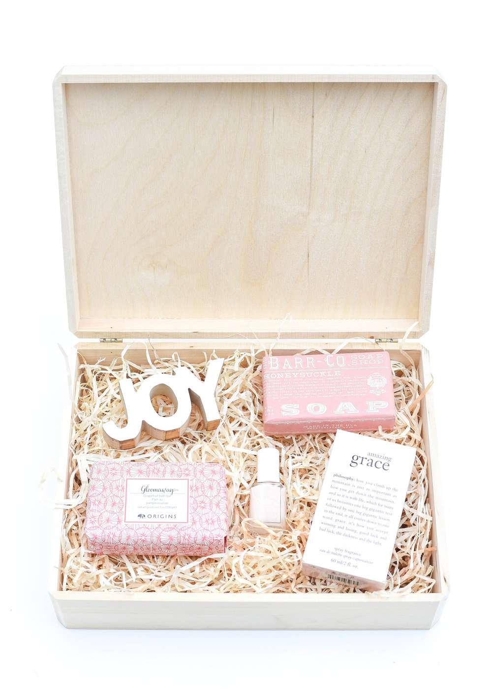 For Her, Sweet Start To The Day - For so many of us, we're the last on the to-do list, and for that reason, it's why the simple indulgent gifts can mean the most. Any mom, daughter or friend would appreciate this sweetly fragrant start to the day. Honeysuckle and Grapefruit Bar Soaps are hands down my happy favorites. An understated pink shade of nails and a spray of Amazing Grace ensure that even the most stressful of days start out relaxed!For purchase info click links below:L:R | JOY (in store @ Target) | Honeysuckle Bar Soap | Grapefruit Bar Soap | Nail Polish | Amazing Grace Fragrance |My go to gift wrap this holiday, shown here:Unfinished Walnut Box (2 pack) | Aspen Wood Excelsior (BULK)Only needing to wrap one present?Individual Unfinished Walnut Box | Aspen Wood Excelsior (4 oz bag)