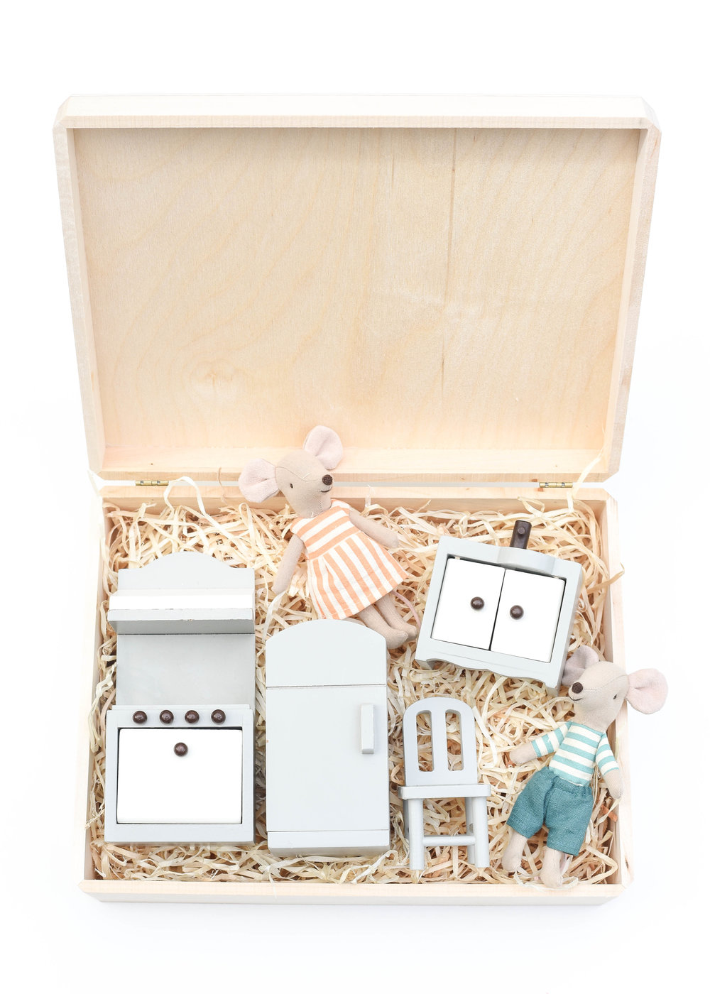 Kitchen Mice Gift Set - This curated set includes some of our favorite heirloom mice, along with a favorite maker of dollhouse furniture. Paired together, this set is great for the dollhouse or carried around in this wooden gift box for play on the go!L:R | Dollhouse Kitchen Set | Big Sister Mouse | Big Brother MouseOur go to gift wrap this holiday, shown here:Unfinished Walnut Box (2 pack) | Aspen Wood Excelsior (BULK)Only needing to wrap one present?Individual Unfinished Walnut Box | Aspen Wood Excelsior (4 oz bag)