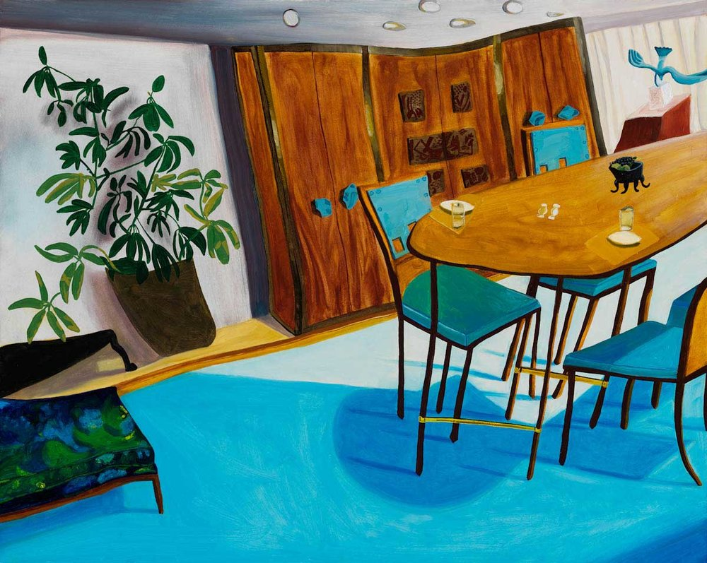 Gabrielle Garland,  Untitled (blue chairs, blue carpet, houseplant) , 2012, Oil on panel, 16 x 20 inches. Courtesy of the artist and Corbett vs. Dempsey.