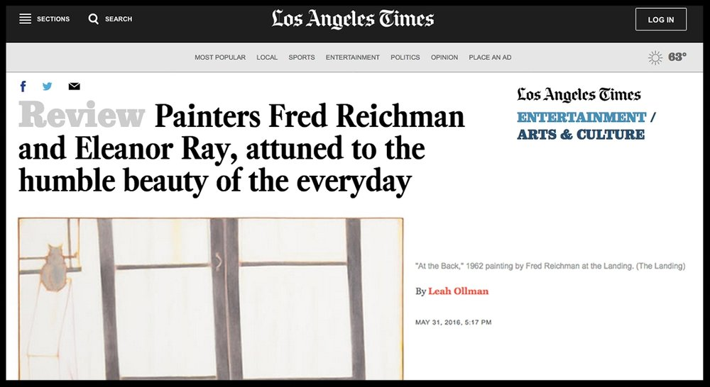 - Los Angeles TimesPainters Fred Reichman and Eleanor Ray, attuned to the humble beauty of the everyday
