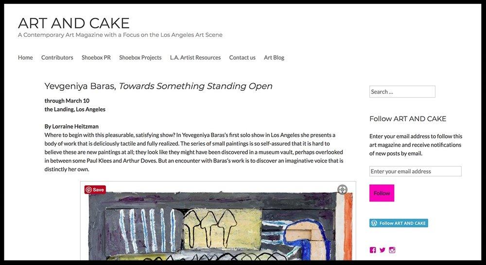 - Art And CakeYevgeniya Baras, Towards Something Standing Open