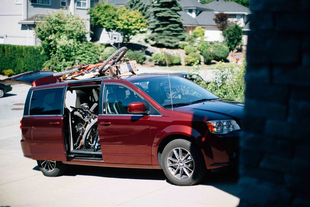 The trusty Dodge Caravan that we managed to pile seven bikes and seven dudes in for a shuttle run.