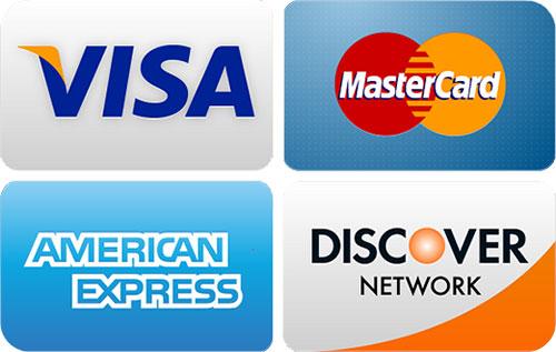 We accept Visa, MasterCard, American Express, Discover