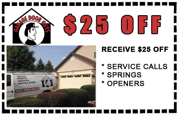$25 off service calls, new springs or openers. PHONE 847-888-8833