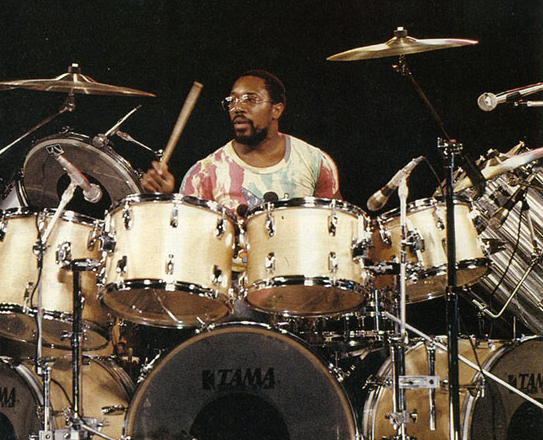 Fusion pioneer Billy Cobham with his multi-tom Tama set-up