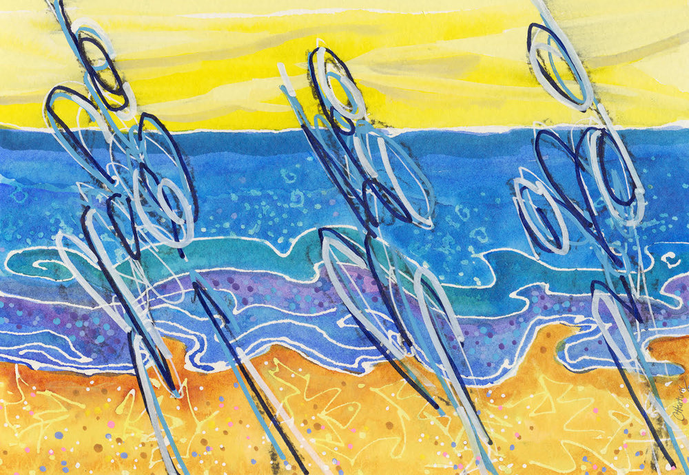 Runners on the Beach by Cathy Hartung