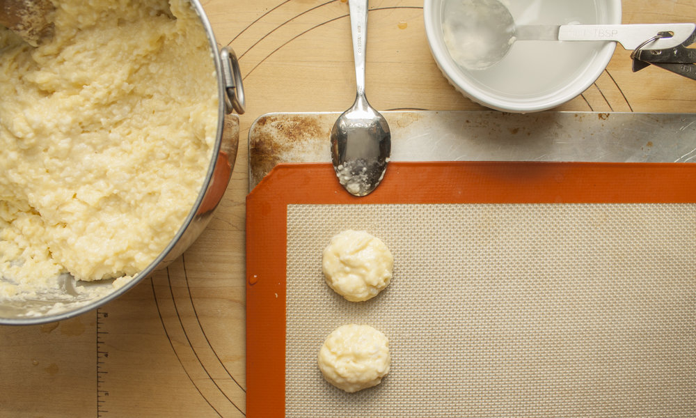 This same dough can be used to make the individual cheese bread puffs .
