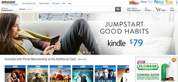 Amazon homepage in 2016