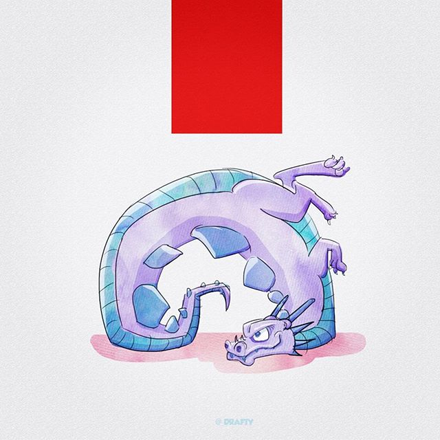 Inspired by my dog's clumsy ass. Lol. #dragon #illustration #sketch #sketchoftheday #drawing #painting #albumcover #design