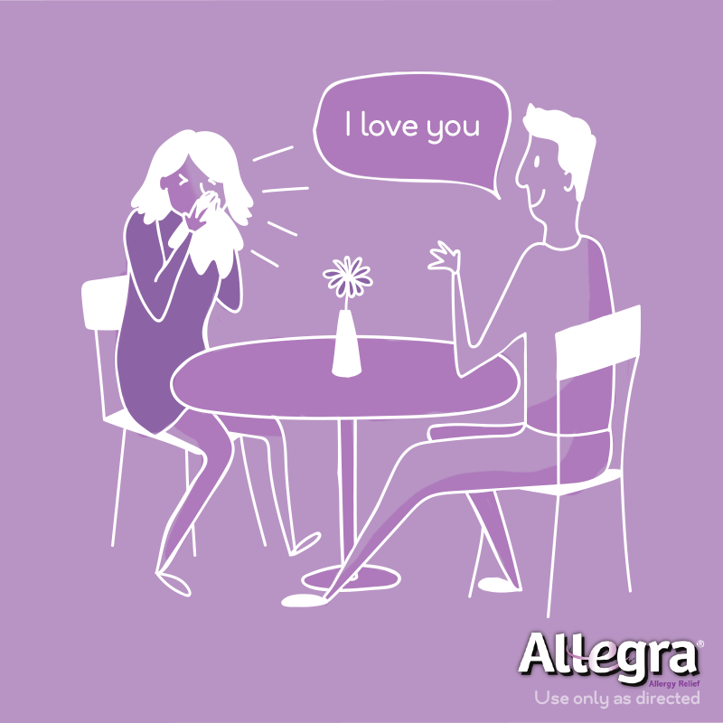 Allergies ruining your relationship goals? Stop missing romantic moments with 24-hour relief from Allegra, available at CVS.