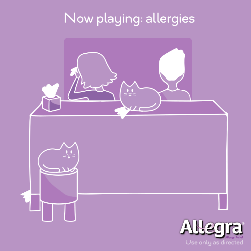 When you're crying but the movie is a comedy... Roll the credits on watery eyes with the 24-hour allergy relief of Allegra, available at CVS.