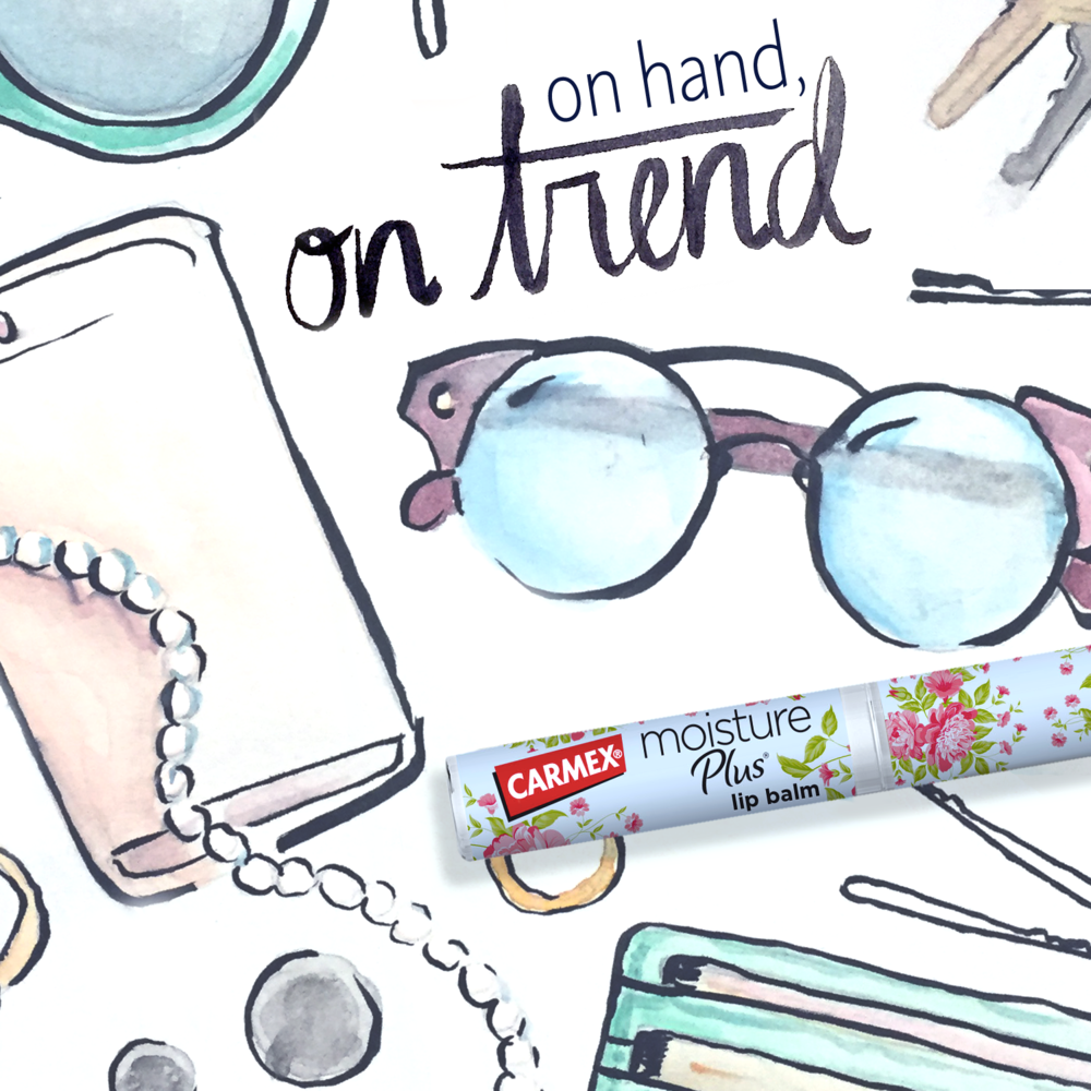 A bag is only as fashionable as what you keep in it. Always be on trend with Carmex Moisture Plus lip balm, only available at Walmart checkouts.