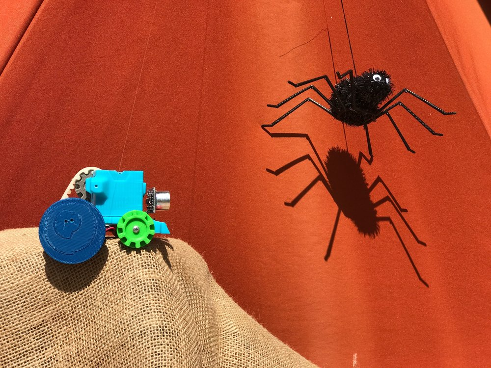 DIY TIME - This Halloween, scare Trick-or-Treaters with an automated spider that drops down when someone walks in front of your Sumo Robot!
