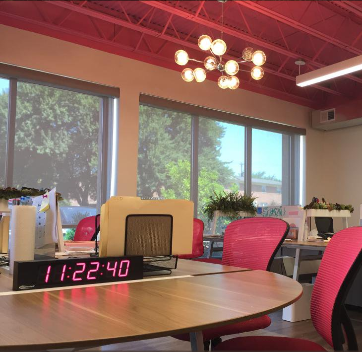 Pink LUX26 Multi-Color Clock