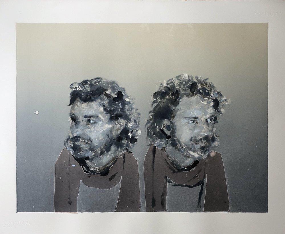 """""""Rubino Left, Rubino Right,"""" monoprint on Somerset, 30 x 22 inches, 2018."""