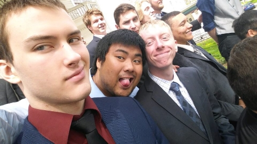 Br. Wade, Br. Kun (tongue), Br. Obermeier in front of the rest of the chapter