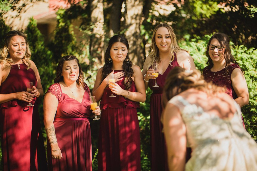 "An absolutely touching ""first look"" with the bridesmaids"