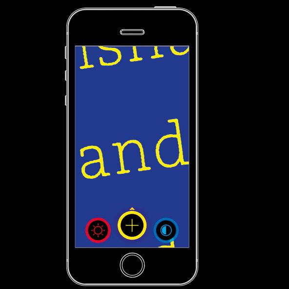 Visor magnifier app on a smartphone