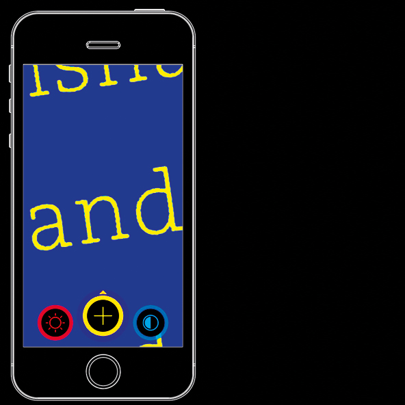 Visor magnifier app on a smartphone. Simple and ad free