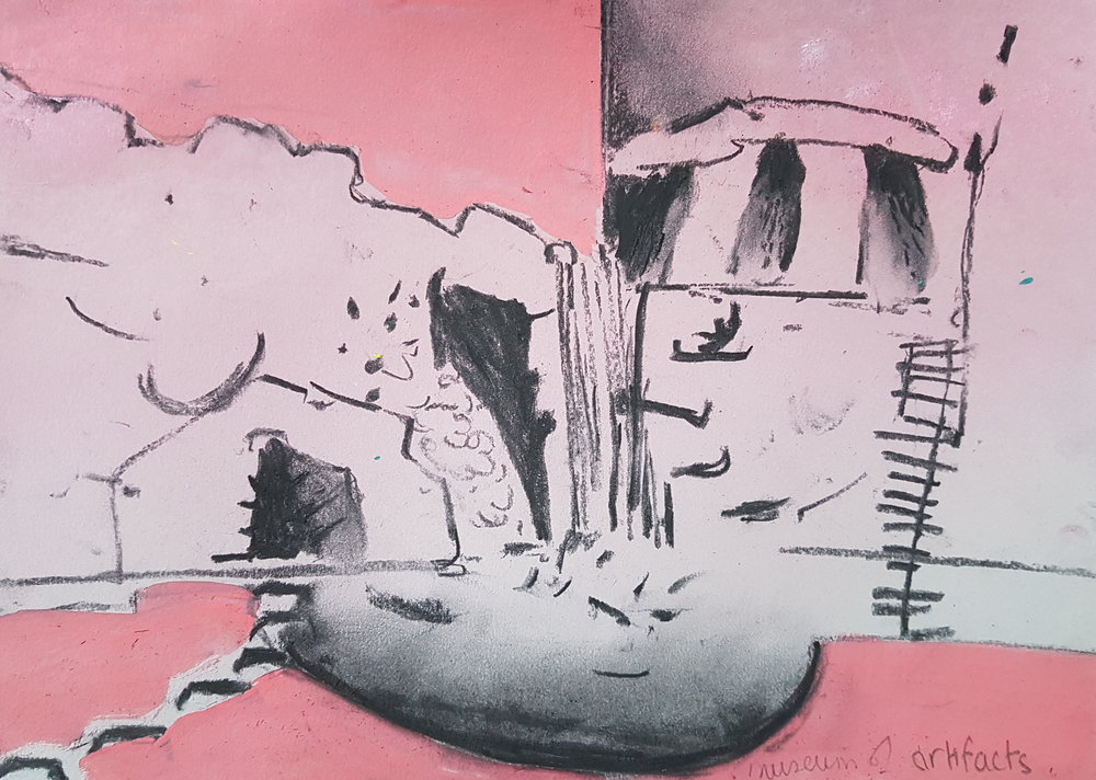 Quoit museum of artifacts acrylic and charcoal on paper 21x28cm 2017.jpg