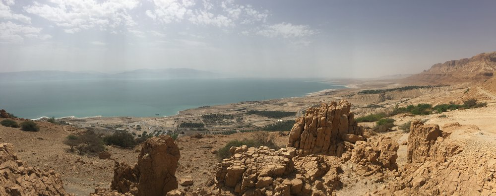 Our view of the Dead Sea from on Ein Gedi