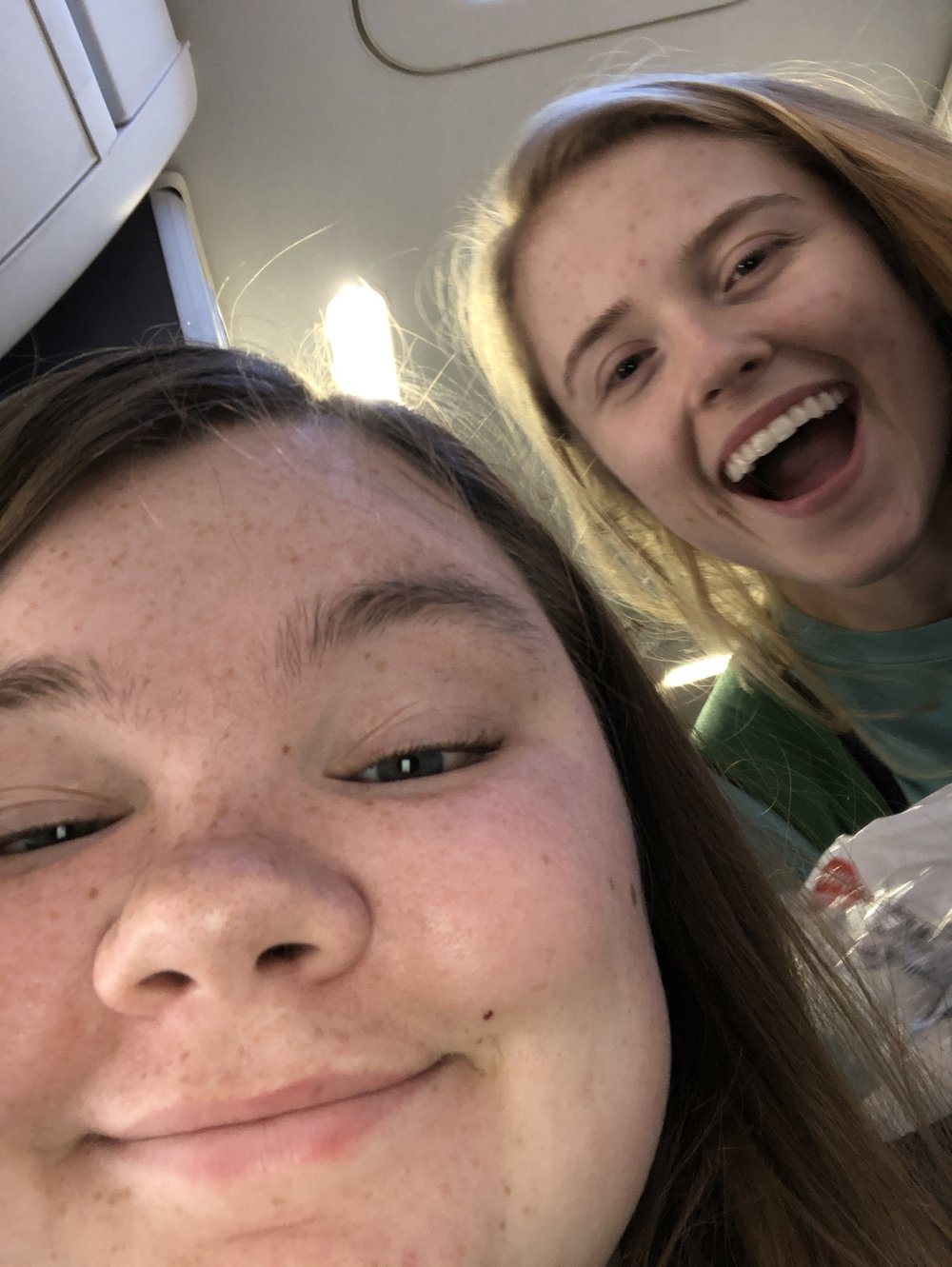 Becca Lamb and Bekah Wommack are THRILLED to finally be off of the plane and in Puerto Rico!