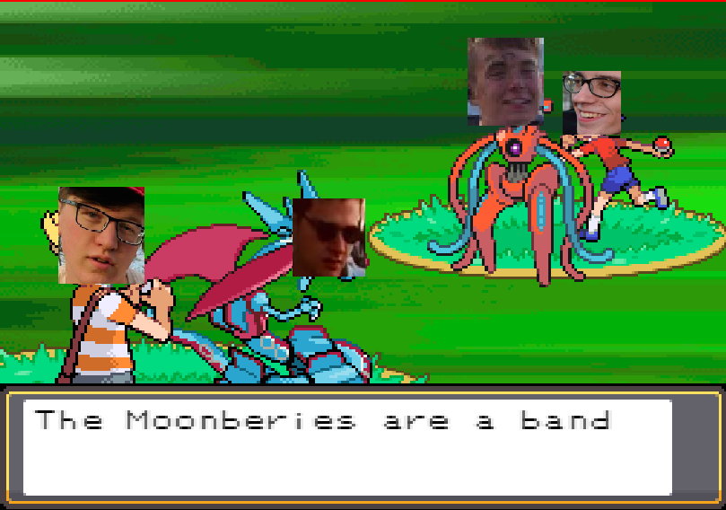 The Moonberries - The Moonberries are junior Steve S. Wright (bass), first year Andrew U. Burklow (drums, vocals), junior Daniel C. Timmermann (guitar), and freshman Alex C. Hughes (guitars, vocals). All four members hail from Pine Point, Ontario. The band was brought together by junior Michael Angelo in late 2017. The band is inspired by artists like Meatpile, Two Hands, PUP, Twin Peaks, Deathgasm, Outkast, Five Skin, Beastie Boys, Blink-182, Willy Nelson, Robosapien, Dixie Chicks, and Drake Bell. Steve's favorite food is pastrami. Andrew has never pet a goat. Alex is always losing something. Dan is always playing Sonic on his PSP. Check out the Moonberries' music @ whohitrne.bandcamp.com.