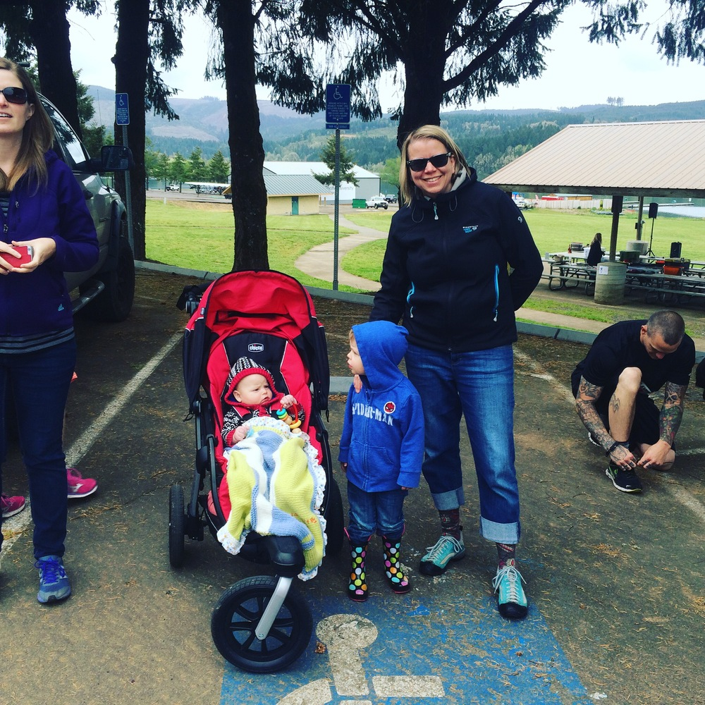 Carrie, T, R, and Liz, sending us off. Special thanks to Carrie for always helping Liz with the kids when Elliot and I are off running!