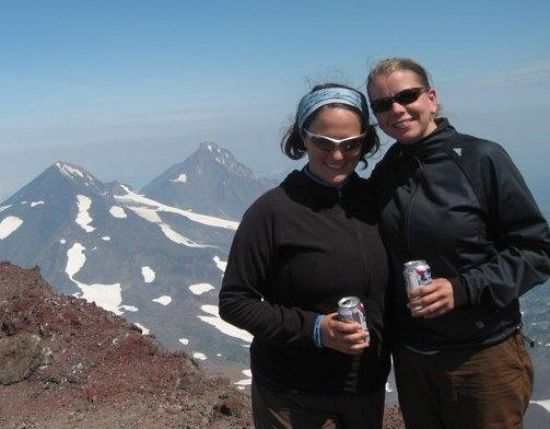 Liz and me on the summit of South Sister, before kids (and before good taste in summit beer, apparently).