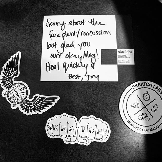 Thanks so much for the sweet card, @skratchlabs ... This is why I just can't quit you (nor do I want to). 😍 PS. Just ordered a new (white!) @smithoptics helmet, and my first order of business will be adding one of these stickers! #skratchlete #skratch #wearyourhelmet