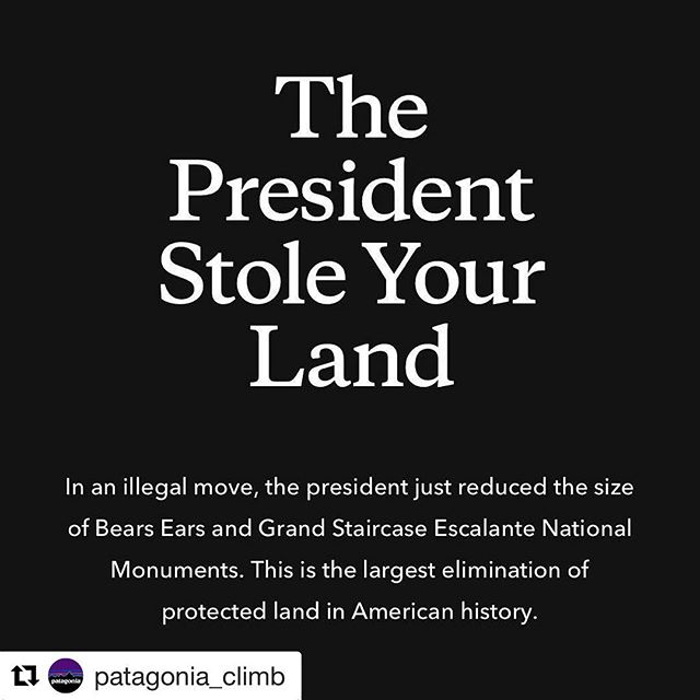 Politics aside- this is just unfortunate!  2M acres no longer protected- the future of our national parks are at risk- if you enjoy these spaces - #speakup #patagonia #bearsears #escalante