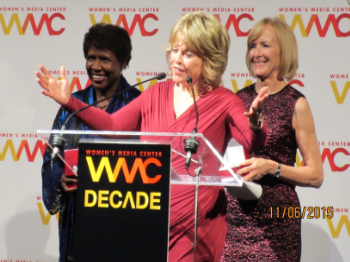 Onstage with journalists Gwen Ifill and Judy Woodruff, recipients of this year's Pat Mitchell Lifetime Achievement Award