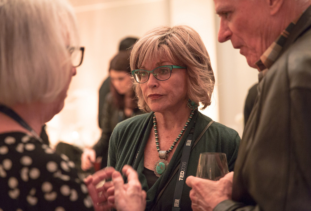 My husband, Scott Seydel, and I, speaking with Teri Schwartz, dean of the UCLA School of Theater, Film and Television, last week at TED (photo courtesy of TED)