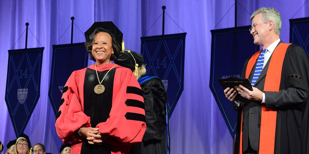 President Paula Johnson received the charter, seal, and keys to the College.   Photo: Richard Howard