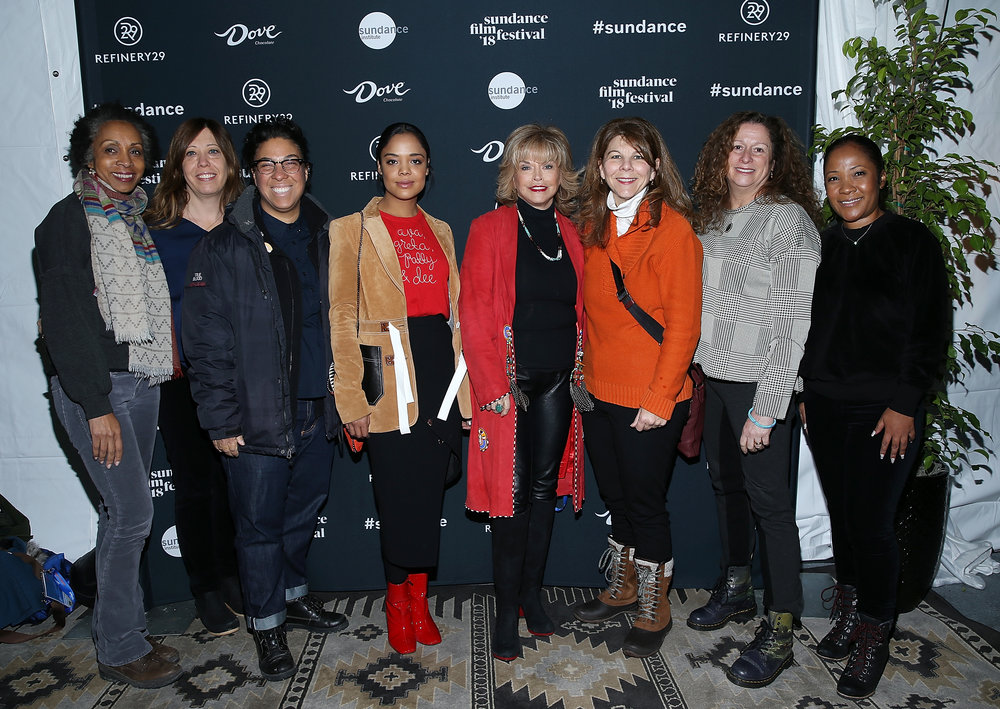 (L-R) Nina Shaw, Kirsten Schaffer, Angela Robinson, Tessa Thompson, Pat Mitchell, Dr. Stacy L. Smith, Abigail Disney, and Tilane Jones attend The Sundance Institute, Refinery29, and DOVE Chocolate Present 2018 Women at Sundance Brunch on January 22, 2018 in Park City, Utah. (Photo by Phillip Faraone/Getty Images for Refinery29)