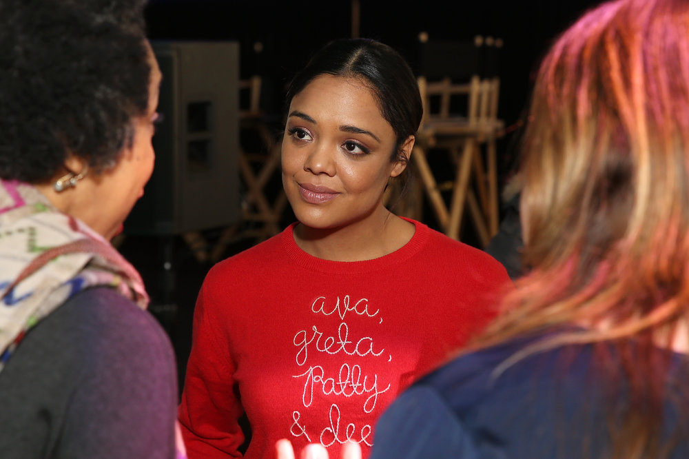 Tessa Thompson, wearing a sweater tribute to women directors, at the Women at Sundance Brunch. (Photo by Phillip Faraone/Getty Images for Refinery29)