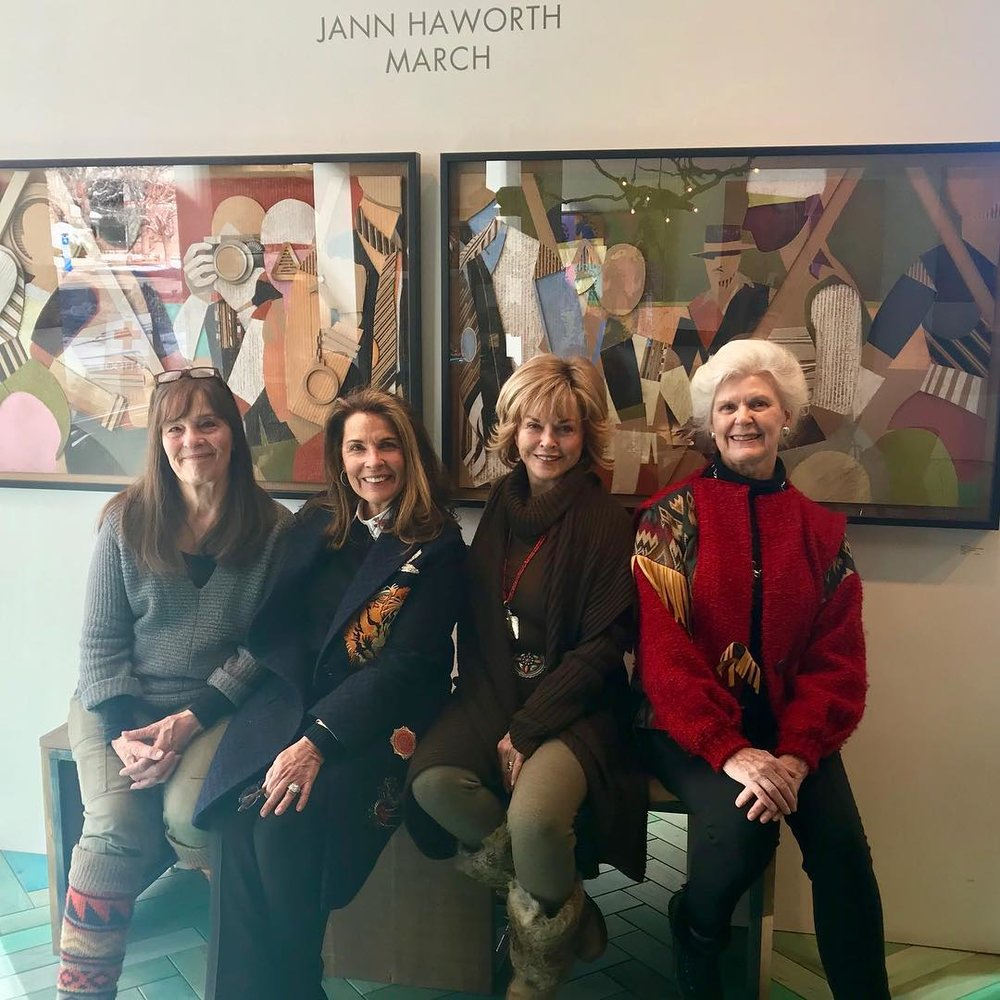 ( l-r) Artist Jann Haworth, Diane Stewart, Pat Mitchell and Susan Cofer at Diane's gallery in Salt Lake City to view an exhibit by Jann about the Women's March.