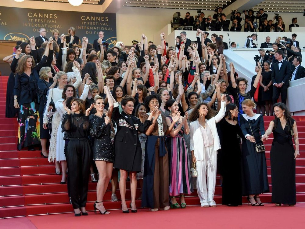 The protest at Cannes Film Festival last week. (Photo:  Twitter )