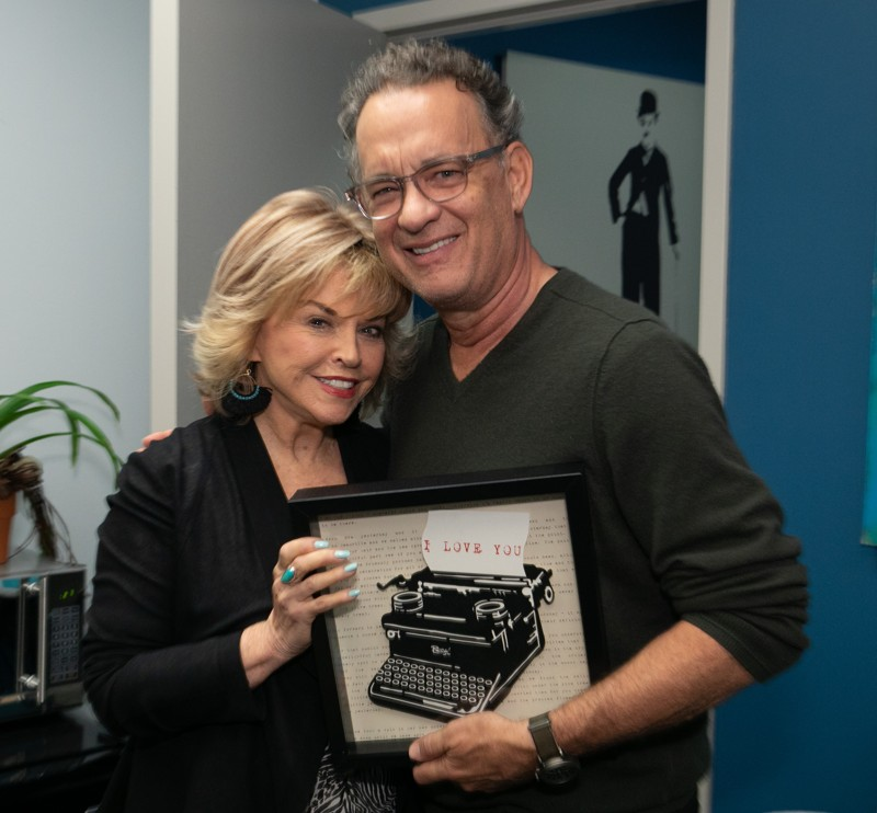Pat Mitchell and Tom Hanks backstage at the MJCCA book festival. Each story in the Hanks' book includes a typewriter, a thread that ties the collection together.